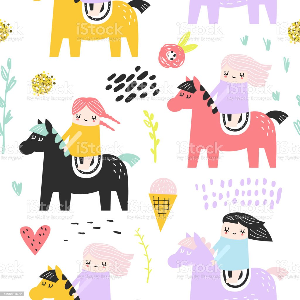 Childish Seamless Pattern With Cute Girls And Pony Creative Kids Background For Fabric Textile Wallpaper Wrapping Paper Vector Illustration Stock Illustration Download Image Now Istock
