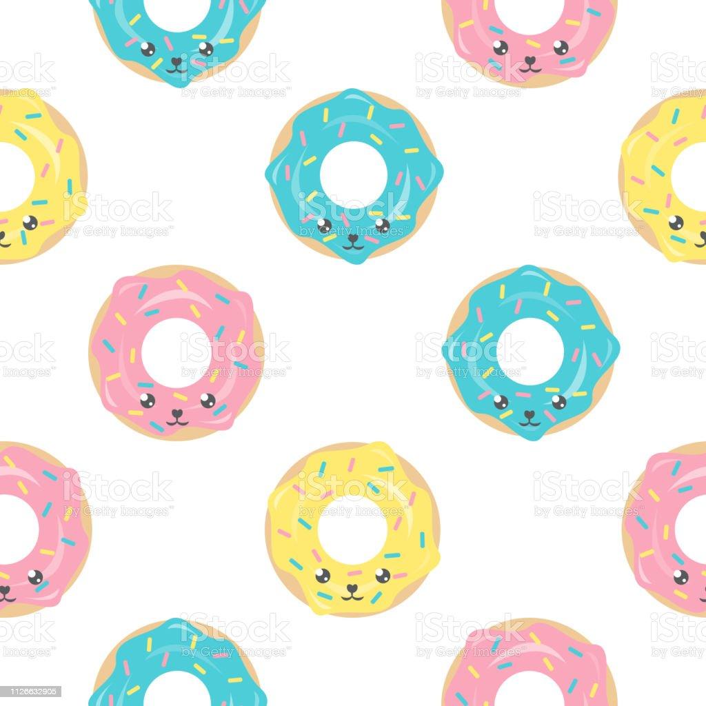 かわいい可愛いドーナツと幼稚なシームレス パターンテキスタイル壁紙