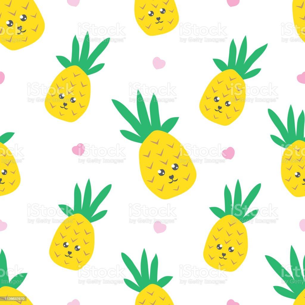 かわいい可愛いパイナップルと幼稚なシームレス パターンテキスタイル