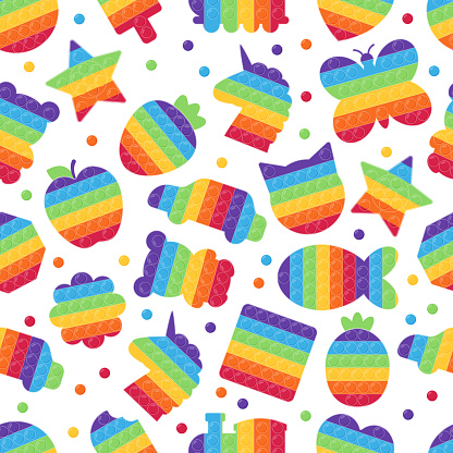 Childish seamless pattern with different Pop It toys. Relax push bubbles, hand toy for children. Antistress game. Rainbow colors. Geometric shapes, food, animals, plants and transports.