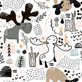 Childish seamless pattern with elks in wood and abstract shapes. Trendy scandinavian vector background. Perfect for kids apparel,fabric, textile, nursery decoration,wrapping paper