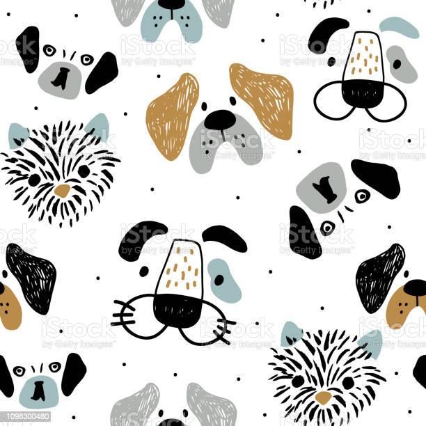 Childish seamless pattern with funny creative dog faces trendy vector id1098300480?b=1&k=6&m=1098300480&s=612x612&h=pqnm8ekhdc nixufntcfrrntj22vjdmvwkdbe8dg9f8=