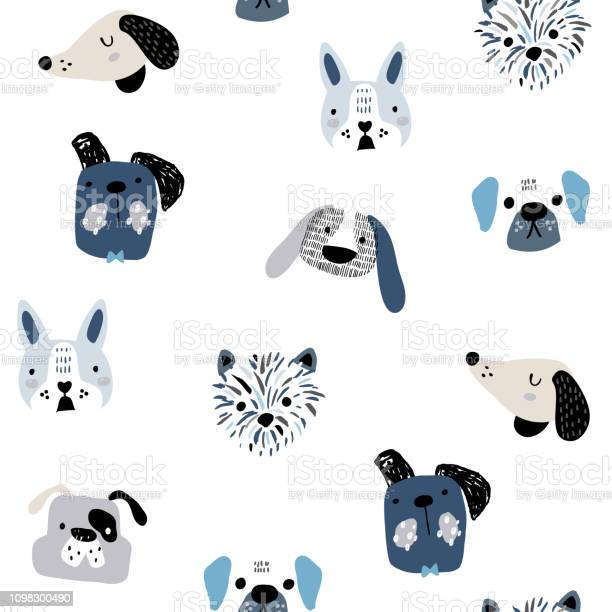 Childish seamless pattern with funny creative dog faces trendy vector id1098300490?b=1&k=6&m=1098300490&s=612x612&h=jh dxw4htabf9a9rxs5dxq7nhw hd2rxj1nvokspgis=