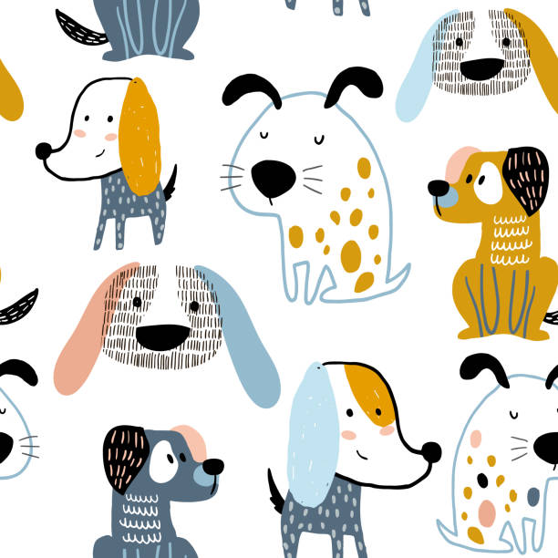 Childish seamless pattern with funny creative dogs. Trendy scandinavian vector background. Perfect for kids apparel,fabric, textile, nursery decoration,wrapping paper Childish seamless pattern with funny creative dogs. Trendy scandinavian vector background. Perfect for kids apparel,fabric, textile, nursery decoration,wrapping paper dog stock illustrations