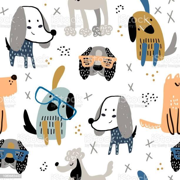 Childish seamless pattern with funny creative dogs trendy vector vector id1083683442?b=1&k=6&m=1083683442&s=612x612&h=ceecup wyykoev7gwbsxagejnyazbnis9ivr76dg28i=