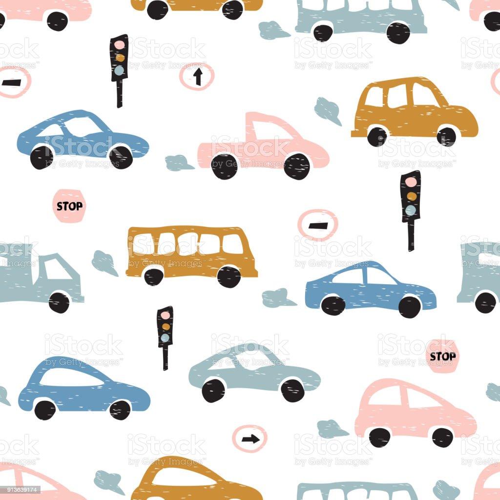 手描きかわいい車で幼稚なシームレス パターン北欧スタイル生地のための