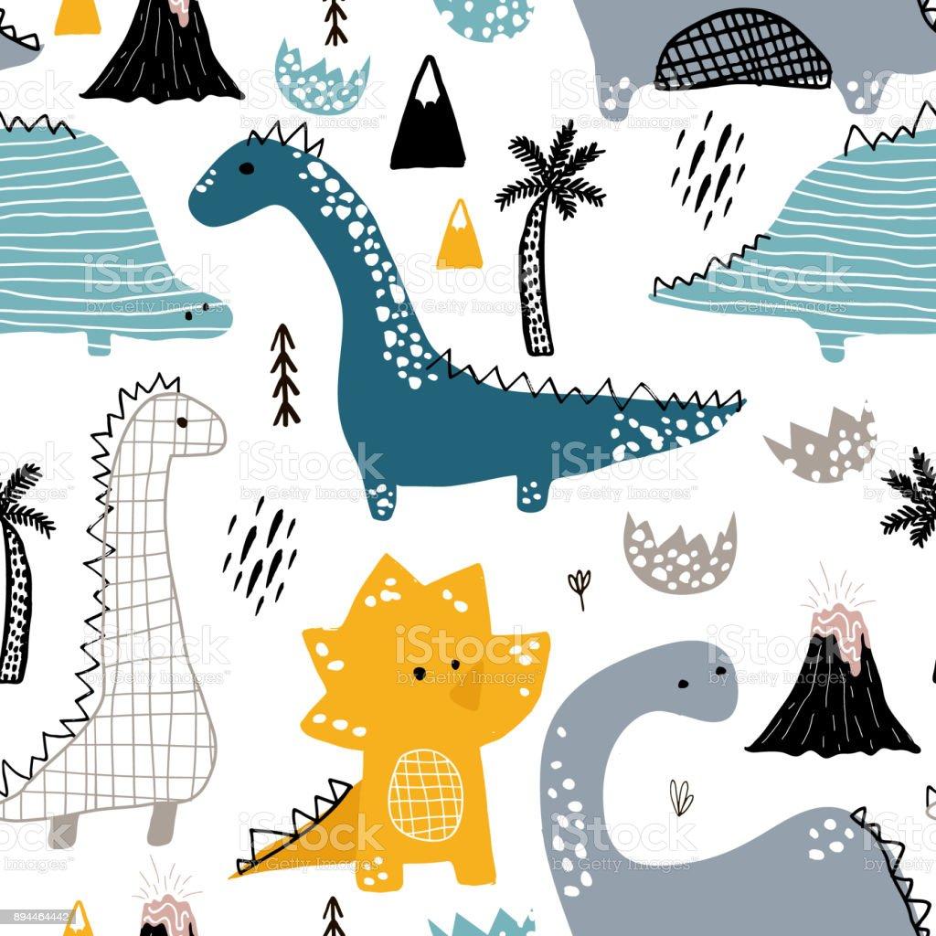 Infantil padrão sem emenda com mão desenhada dino em estilo escandinavo. Proveja vector fundo infantil para tecido, têxtil - ilustração de arte em vetor