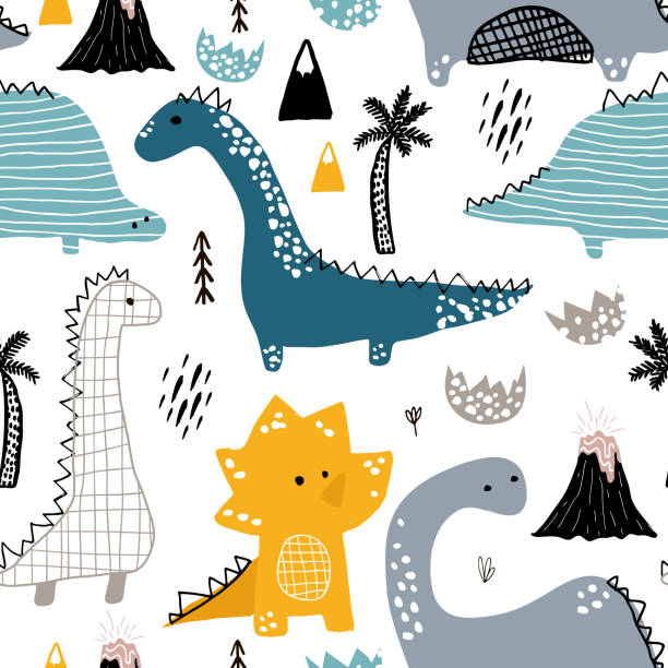 childish seamless pattern with hand drawn dino in scandinavian style. creative vector childish background for fabric, textile - dinosaur stock illustrations, clip art, cartoons, & icons