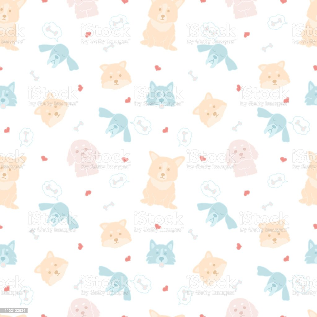 Childish seamless pattern with hand drawn dogs. Trendy cute doodle animals vector background. Perfect for kids apparel, fabric, textile, nursery decoration, wrapping paper.