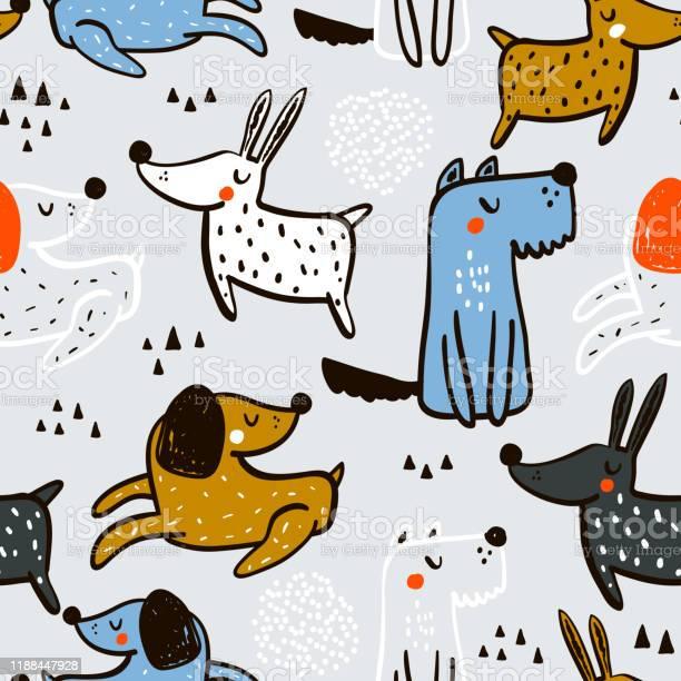 Childish seamless pattern with hand drawn dogs trendy scandinavian vector id1188447928?b=1&k=6&m=1188447928&s=612x612&h=5bpb xp3bomvyfgjvkgvjvradeceb56hgvutyexjgts=