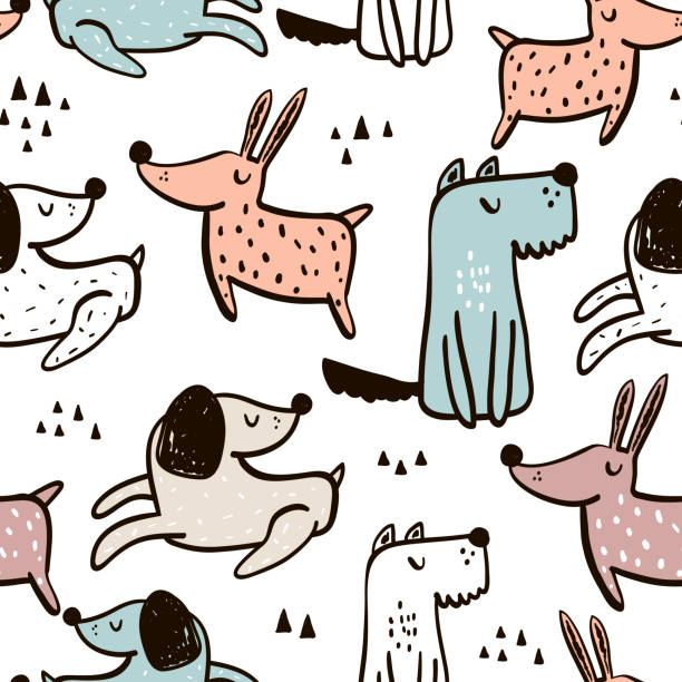 Childish seamless pattern with hand drawn dogs. Trendy scandinavian vector background. Perfect for kids apparel,fabric, textile, nursery decoration,wrapping paper vector art illustration