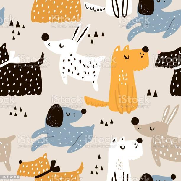 Childish seamless pattern with hand drawn dogs trendy scandinavian vector id894464426?b=1&k=6&m=894464426&s=612x612&h=io5qouwz rei0gb18o7rjlwi1uuwqqndomghdbx46ee=