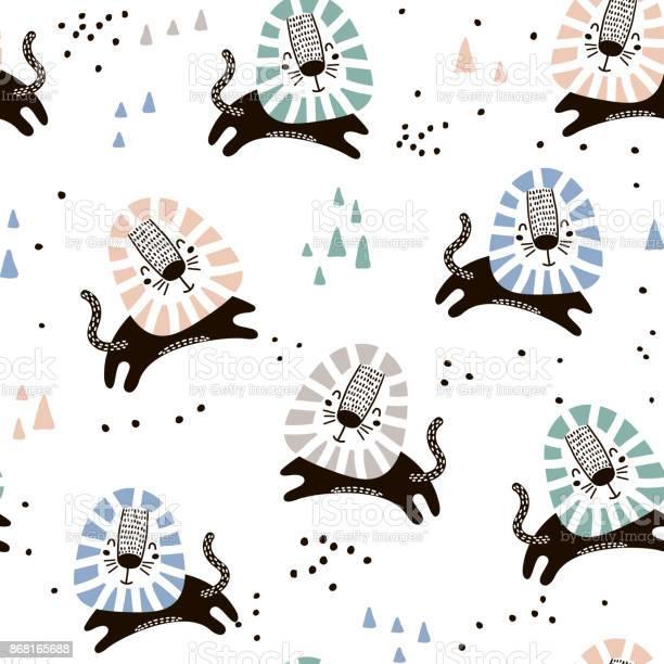 Childish seamless pattern with hand drawn lions trendy scandinavian vector id868165688?b=1&k=6&m=868165688&s=612x612&h=a fpotmcoz7ekqh 01ayzufnwbr76fjglv7c4 5czmc=