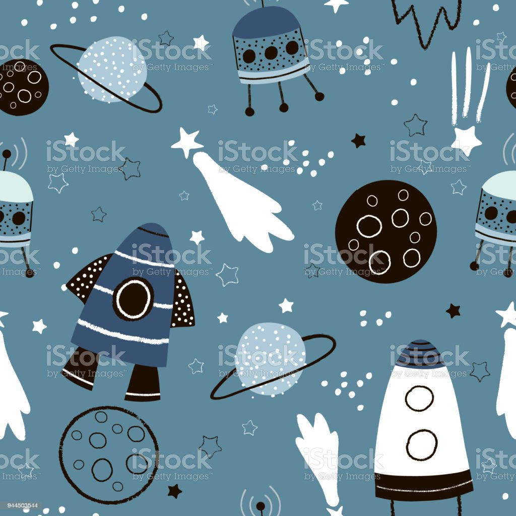 Childish seamless pattern with hand drawn space elements space, rocket, star, planet, space probe. Trendy kids vector background. vector art illustration