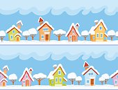 Childish seamless pattern with little snow-covered houses and trees