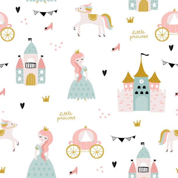 illustrazioni stock, clip art, cartoni animati e icone di tendenza di childish seamless pattern with princess, castle, carriage in scandinavian style. creative vector childish background for fabric, textile - principessa