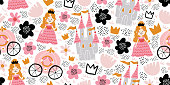 Childish seamless pattern with princess, castle, carriage in scandinavian style. Creative vector childish background for fabric, textile. Scandinavian design. Kids pattern. - Vector