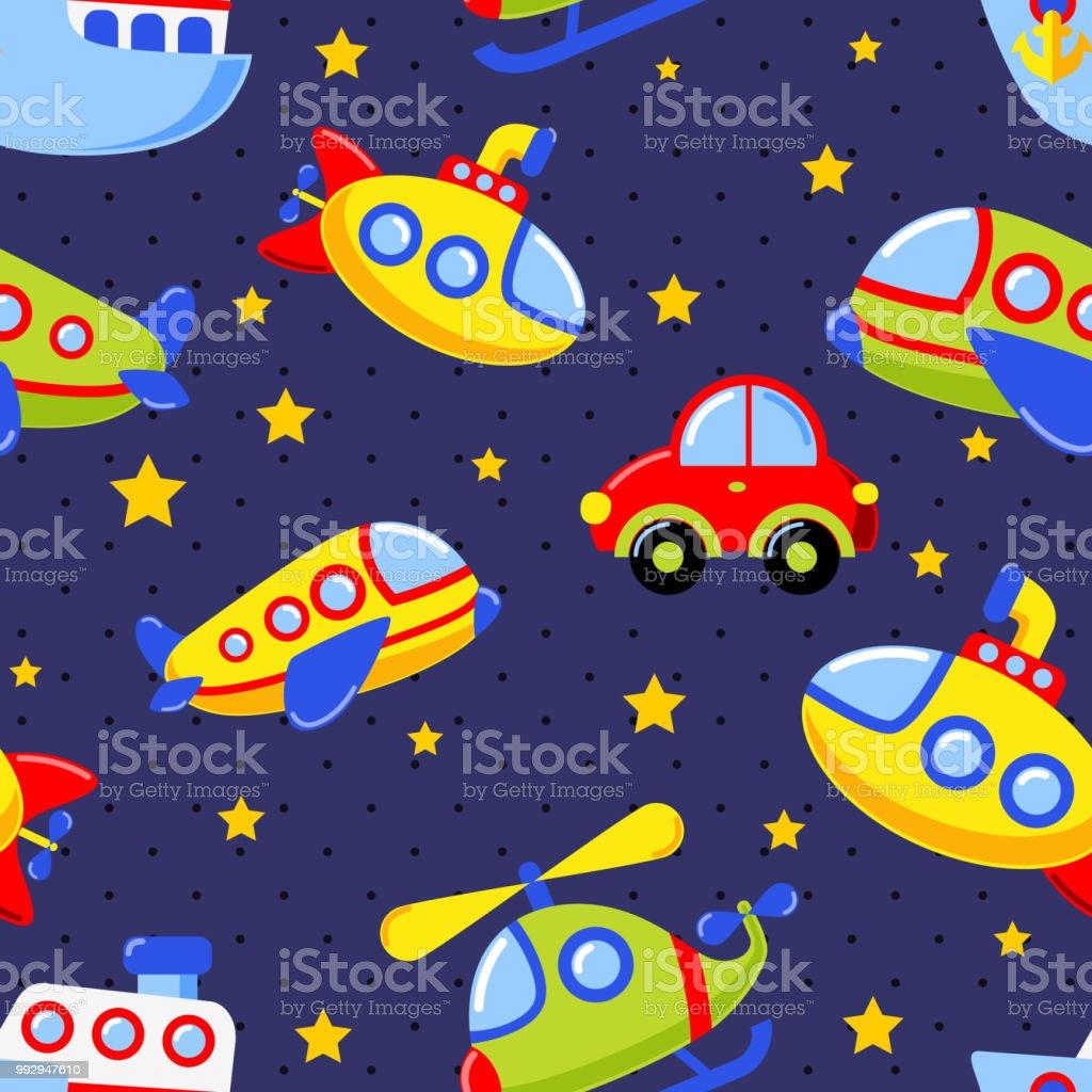 Childish Seamless Pattern With Transport Car Submarine Ship Plane ...