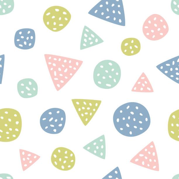 stockillustraties, clipart, cartoons en iconen met kinderachtig naadloos patroon met driehoeken en stippen. creatieve textuur voor stof - background baby