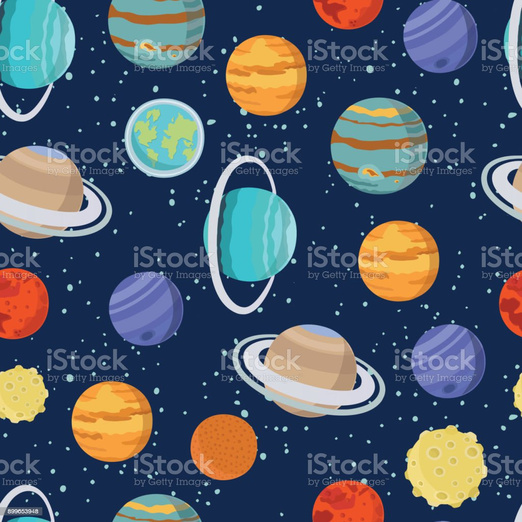 Childish seamless space pattern with astronaut, Earth, saturn, UFO, rockets and stars vector art illustration