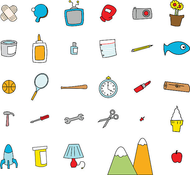 Childlike Doodles of Everyday Objects vector art illustration