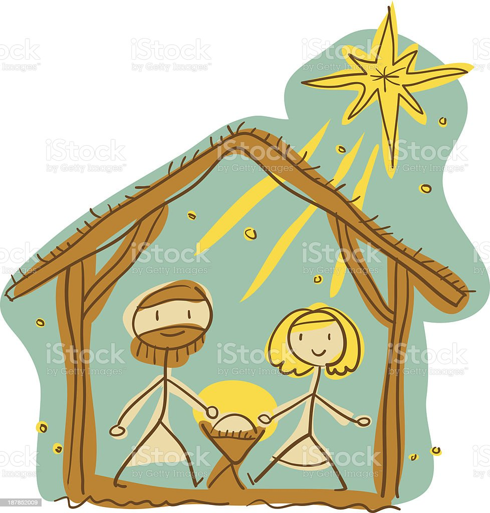 Childlike Nativity Drawing royalty-free stock vector art