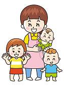 Childminder woman and Children