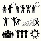 A set of human pictogram representing children pose and welfare rights. These pictograms also show the children being strong, independent, and happy.