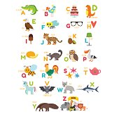 Children alphabet with cute cartoon animals and other funny elements. Cartoon vocabulary for education. Vector illustration