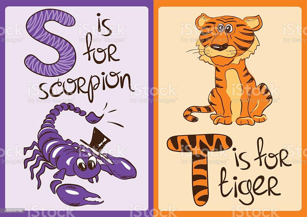 Ilustracion De Ninos Alfabeto De Divertidos Animales Escorpion Y