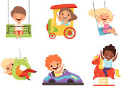 Children amusement park. Happy kids sitting and playing various attractions games smiling male female boys and girls vector characters. Illustration of boy and girl, amusement and entertainment