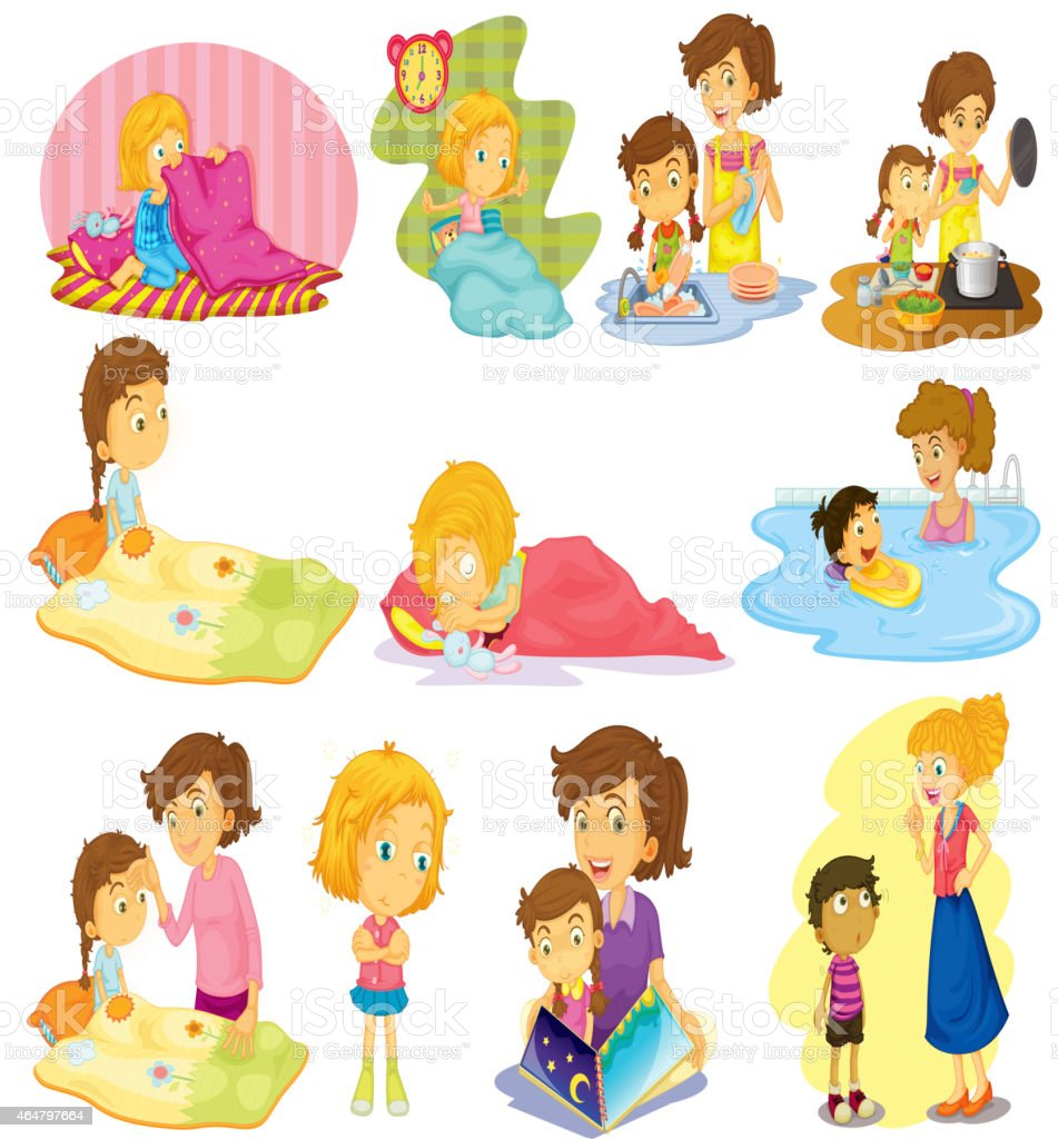 Children and activities vector art illustration