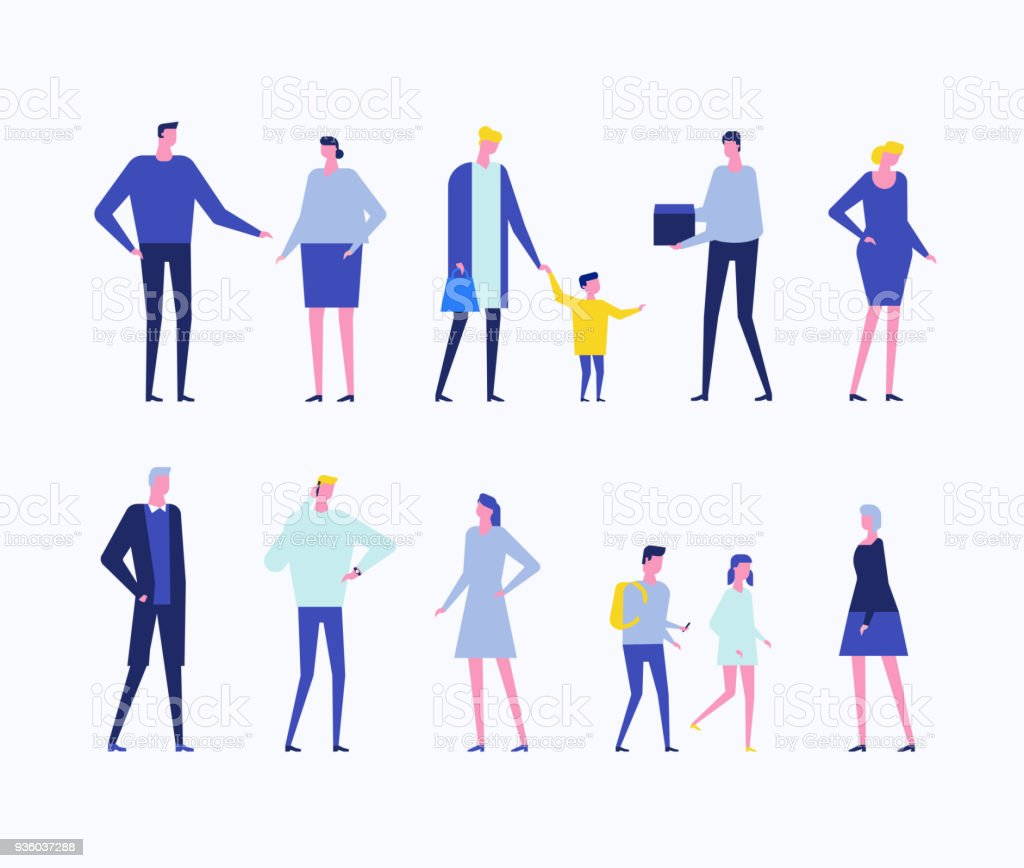 Children and adults - flat design style set of isolated characters royalty-free children and adults flat design style set of isolated characters stock illustration - download image now