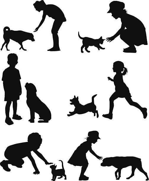 illustrazioni stock, clip art, cartoni animati e icone di tendenza di i bambini e gli animali - bambino cane
