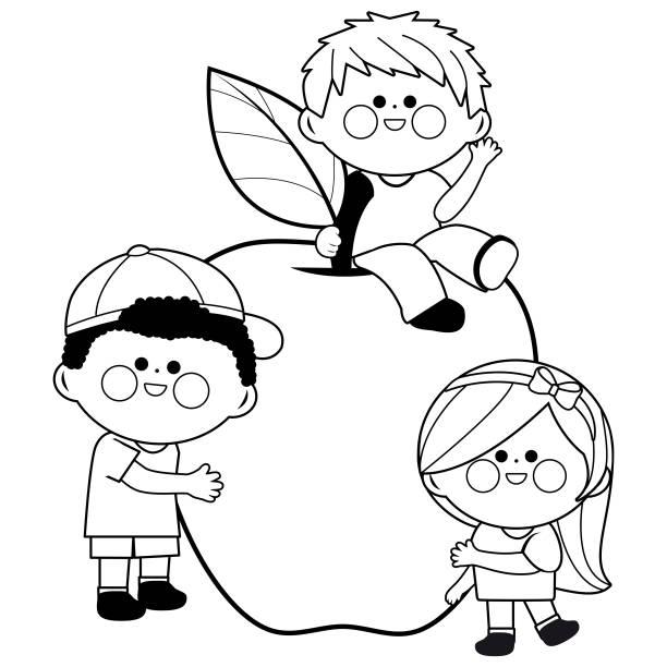 Best Kid Girl Eating Apple Illustrations, Royalty-Free