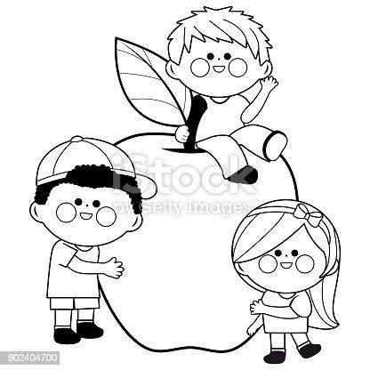 çocuk Ve Elma Siyah Ve Beyaz Kitap Sayfa Boyama Stok Vektör Sanatı
