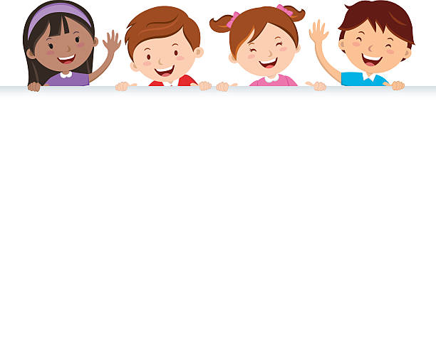 children and banner - primary school stock illustrations, clip art, cartoons, & icons