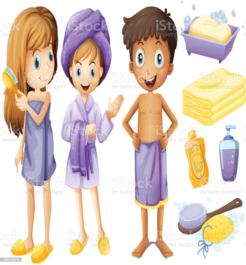 Children and bathroom objects vector art illustration