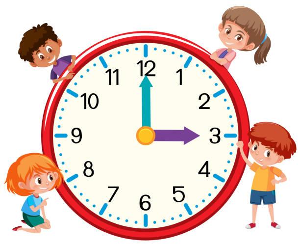 Kinder und Uhr auf weißen bankground – Vektorgrafik