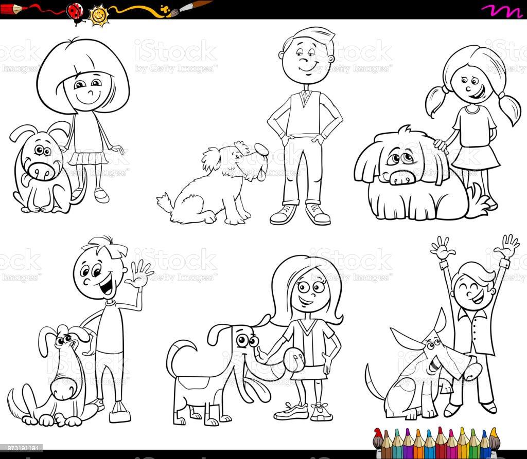 子供と犬のキャラクターの塗り絵 お絵かきのベクターアート素材や画像