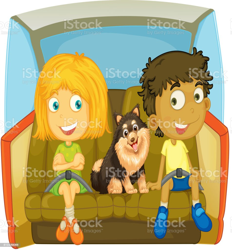 Children and dog sitting in the car vector art illustration