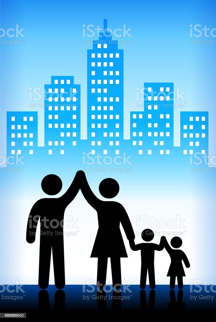 兒童和家庭藍色向量城市背景 免版稅 兒童和家庭藍色向量城市背景 向量插圖及更多 一起 圖片