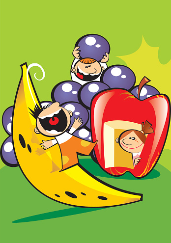 children and fruits