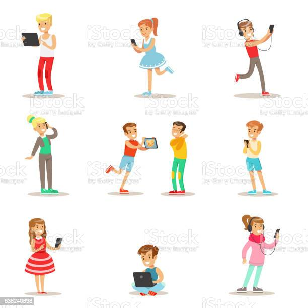 Children and gadgets set of illustrations with kids vector id638240898?b=1&k=6&m=638240898&s=612x612&h=pndztaalfemqdoko0v7spvw5x6tcbkhlwj6mkaoa jm=