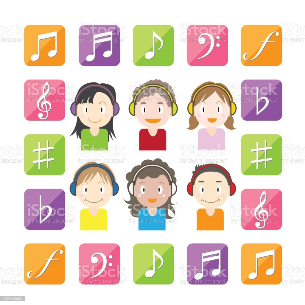 子供たちと音楽に耳を傾ける設定アイコン - ひとそろいのベクターアート