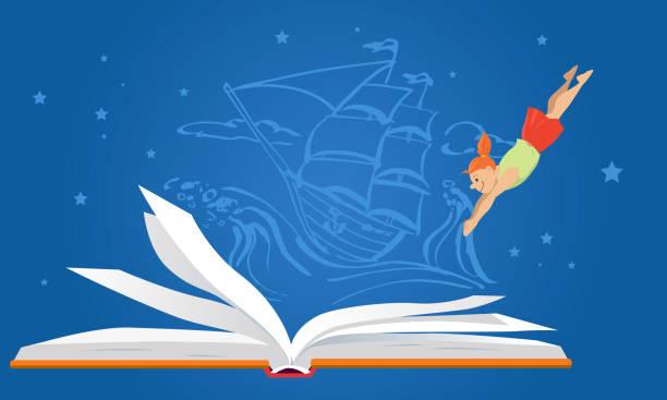 Children and literature vector art illustration
