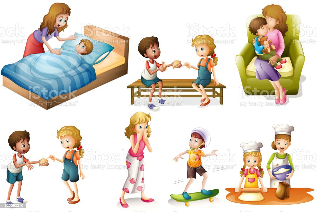 Children and mother doing different activities vector art illustration
