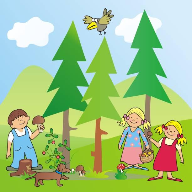 bildbanksillustrationer, clip art samt tecknat material och ikoner med barn och svamp, pojke och flicka på skogen - höst plocka svamp