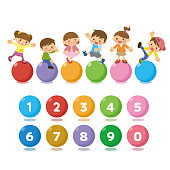 Children and numbers icons.