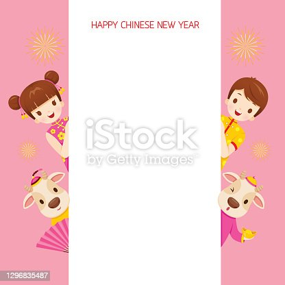 istock Children And Ox On Frame, Happy Chinese New Year, Year Of The Ox 1296835487